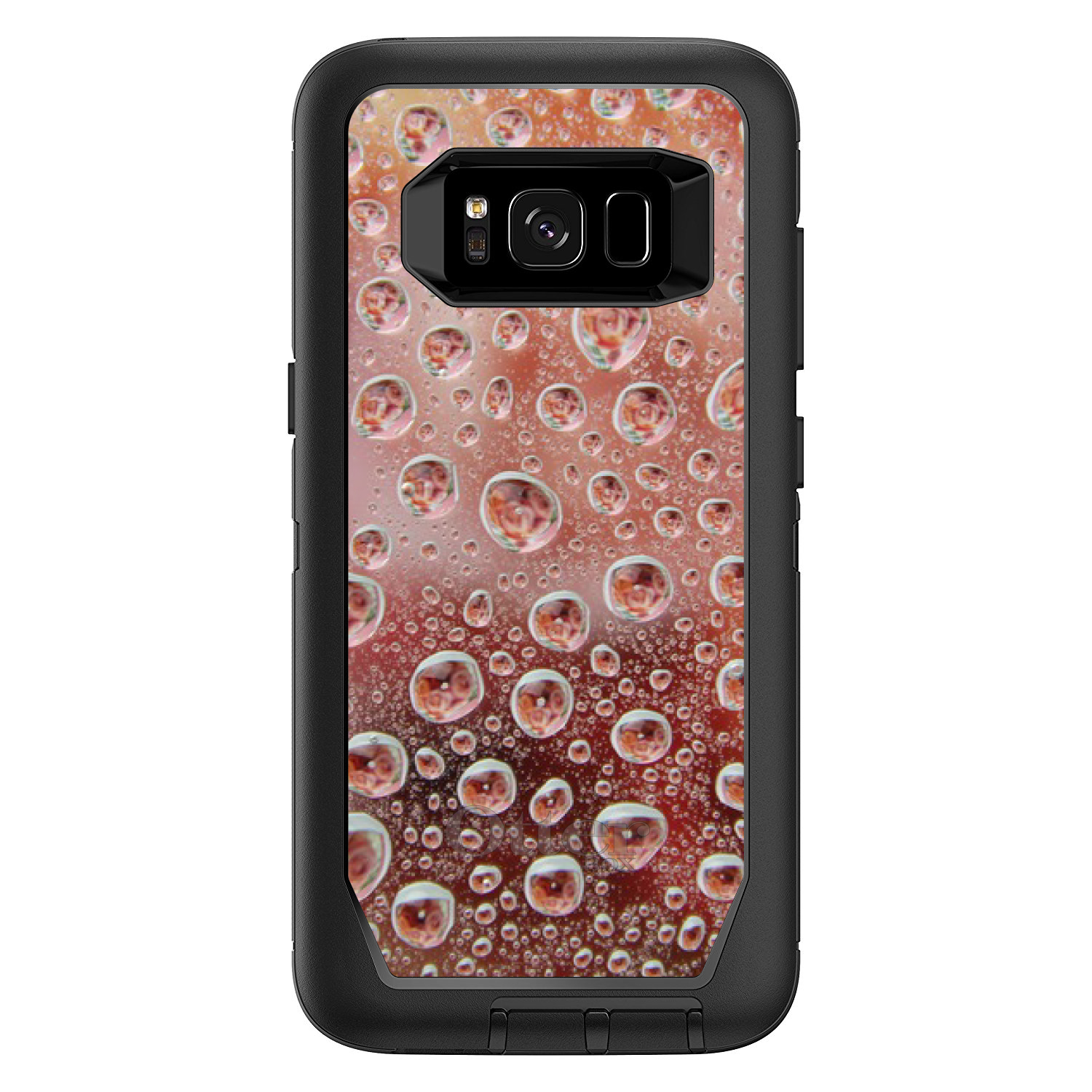 "DistinctInk™ Custom Black OtterBox Defender Series Case for Samsung Galaxy S8 (5.8"" Screen) - Red Water Droplets Glass"
