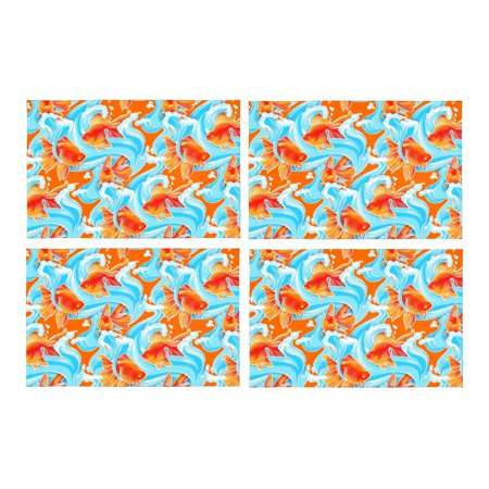 YUSDECOR Goldfish Artwork Placemats Table Mats for Dining Room Kitchen Table Decoration 12x18 inch,Set of 4 - image 1 of 4