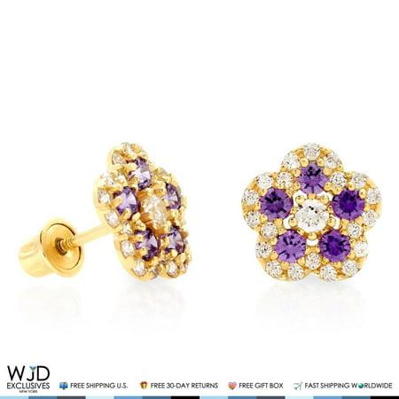 14k Yellow Gold 0.50Ct Created Diamond Amethyst Flower Cluster Stud Earrings
