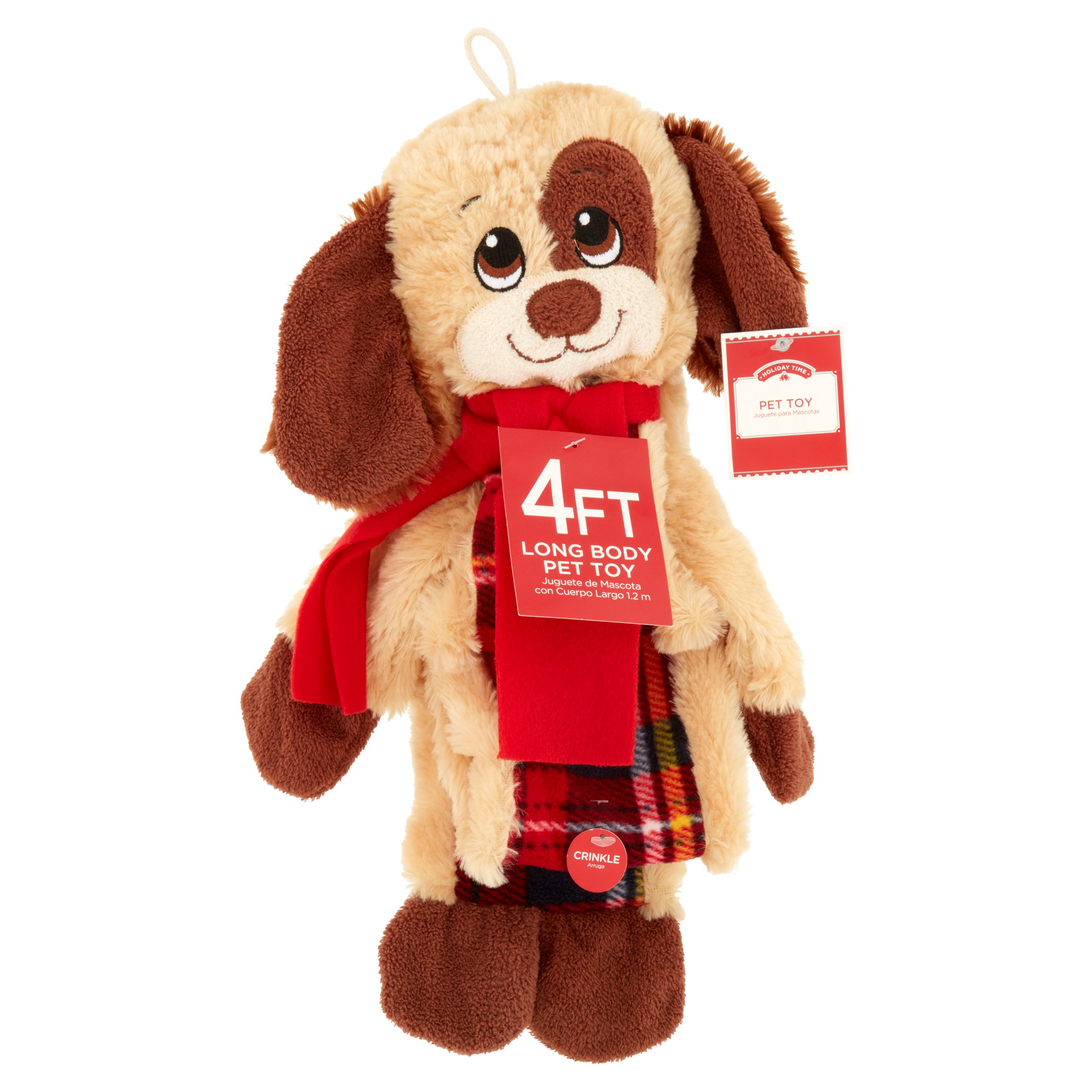 Holiday Time 4ft Long Body Hd Crinkly Puppy Pet Toy