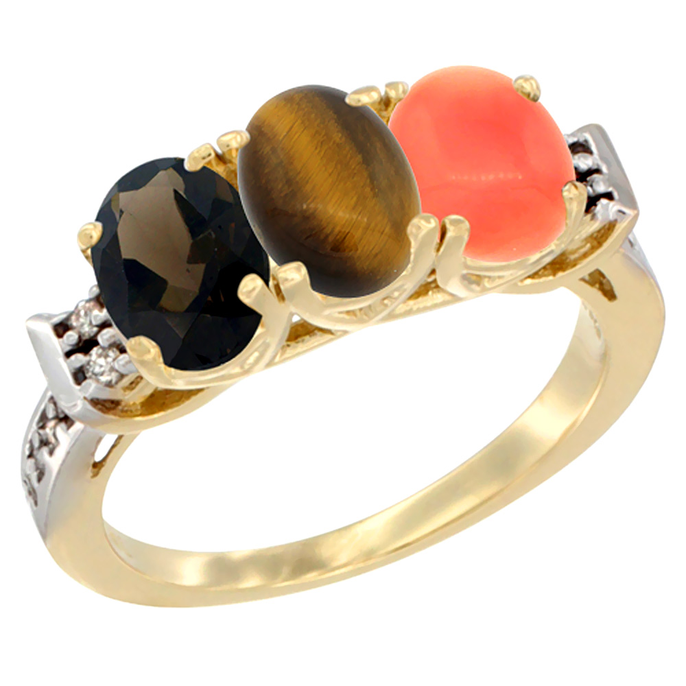 10K Yellow Gold Natural Smoky Topaz, Tiger Eye & Coral Ring 3-Stone Oval 7x5 mm Diamond Accent, sizes 5 - 10
