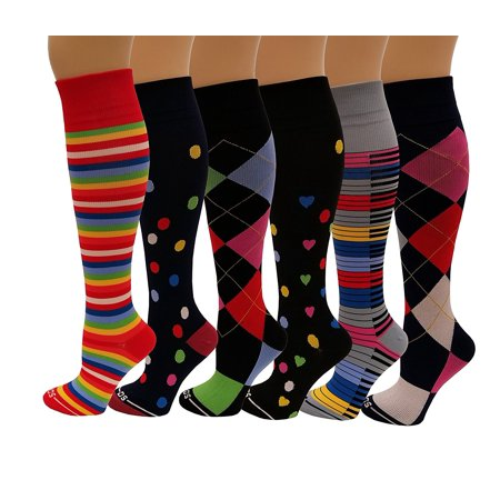 d2ff746946 6 Pairs Pack Moderate ( 15-20 mm Hg ) Sports , Travelers , Anti-Fatigue ,  Graduated Compression Socks (One size, Assorted Coloful) - Walmart.com