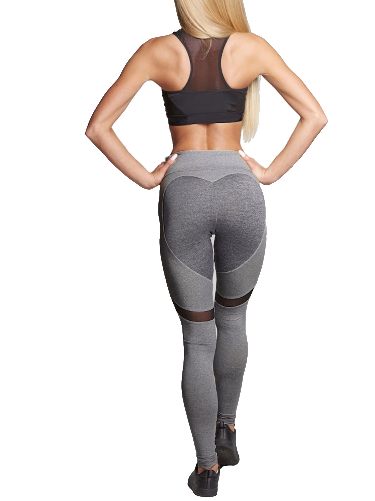 Heart Womens Yoga Pants Workout Gym Sports Leggings Fitness Stretch Trouser Pant