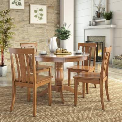 Lexington 5-Piece Dining Set with Round Table and 4 Slat Back Chairs,