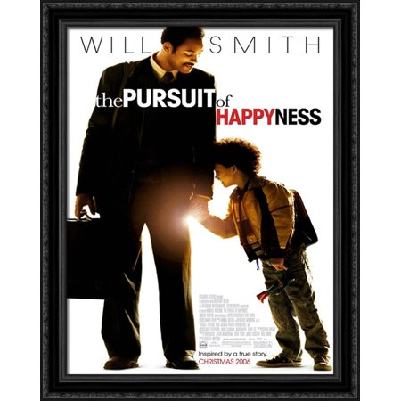 The Pursuit Of Happyness 28X36 Large Black Ornate Wood Framed Canvas Movie Poster Art