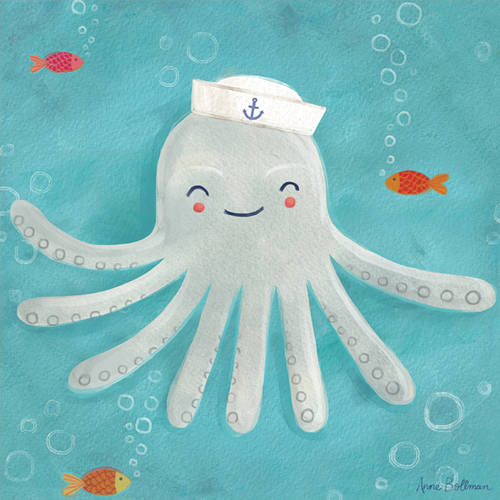Oopsy Daisy's Let's Set Sail, Octopus Canvas Wall Art, Size 10x10