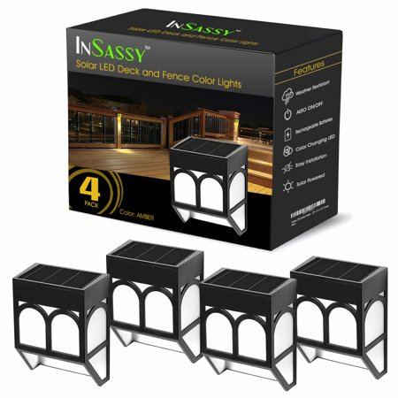 Solar LED Outdoor Lights - Wireless Waterproof Security Lighting for Deck, Fence, Patio, Front Door, Wall, Stair, Landscape, Yard and Driveway Path - Amber/Color Changing - 4 - Unique Arts Solar Fence