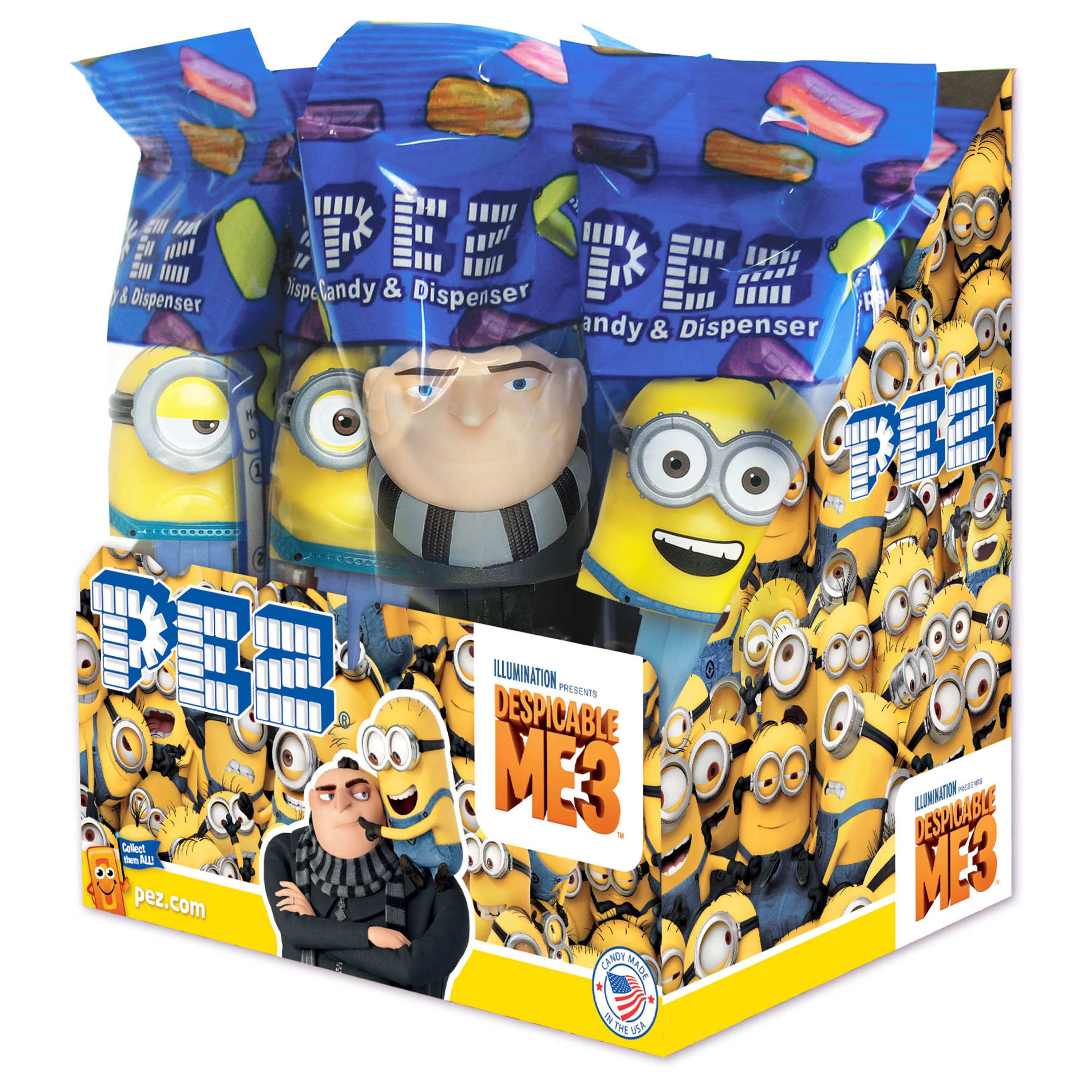 PEZ Candy Despicable Me 3 Assortment, candy dispenser plus 2 rolls of assorted fruit candy, box of 12