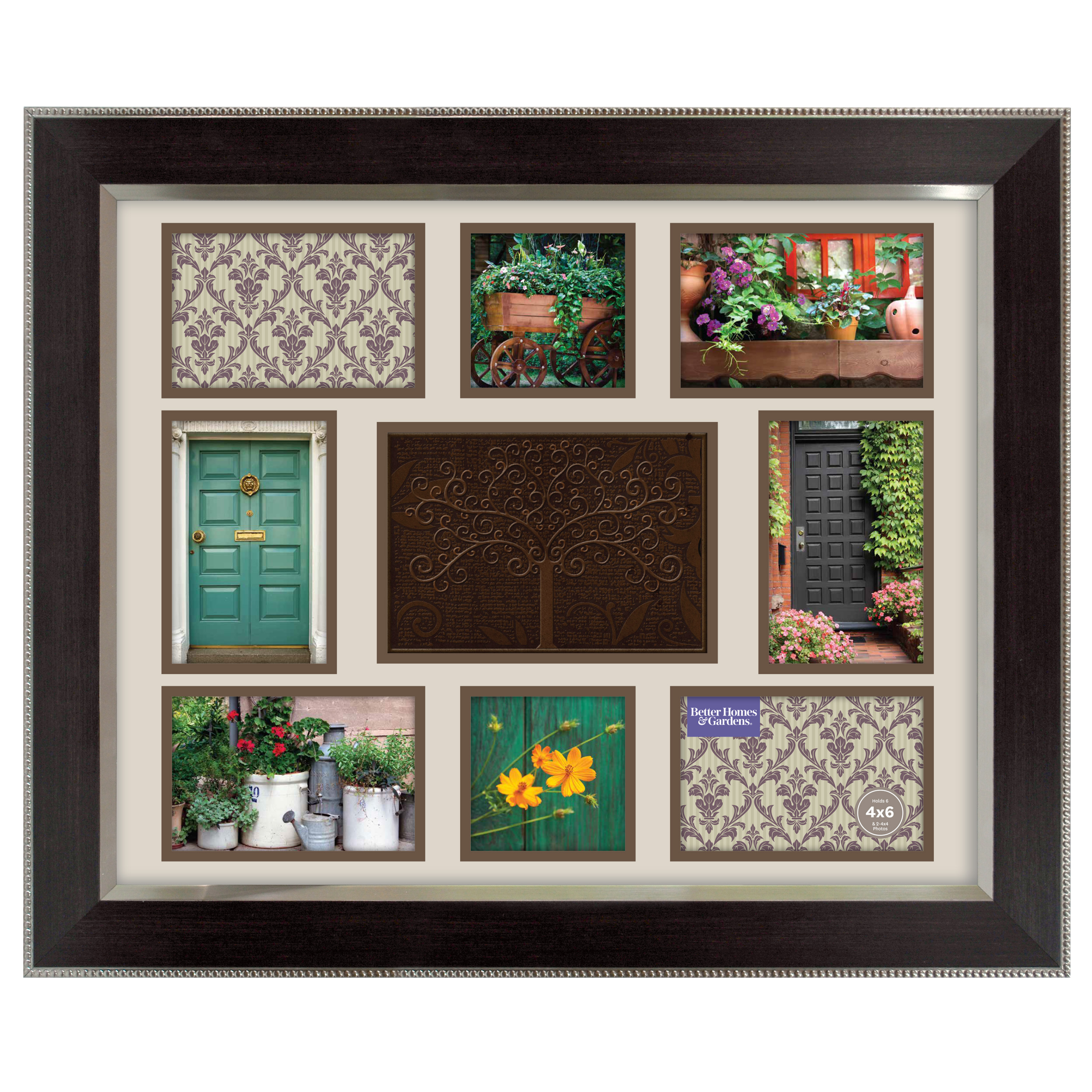 """Better Homes & Gardens 16"""" x 20"""" Family Tree Collage Frame, Espresso with Silver"""