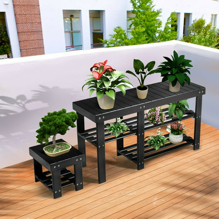Costway Bamboo Shoe Rack Bench with Stool Entryway 3 Tier Storage Organizer Black - image 7 of 10