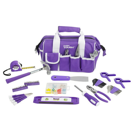 Hyper Tough 53-Piece Home Repair Tool Set, Purple ()