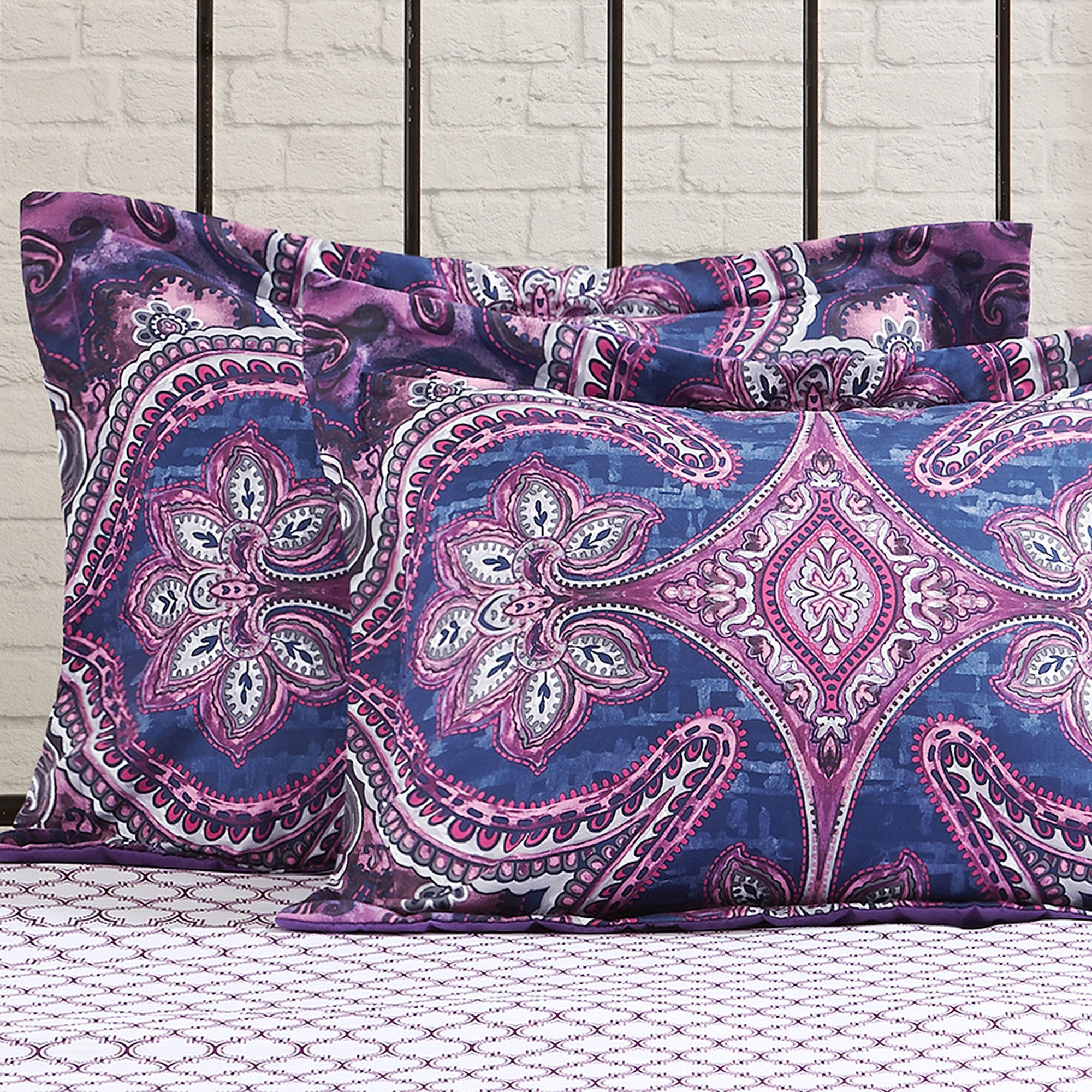 Mainstays Grace Medallion Purple Bed In A Bag Complete Bedding Set    Walmart.com
