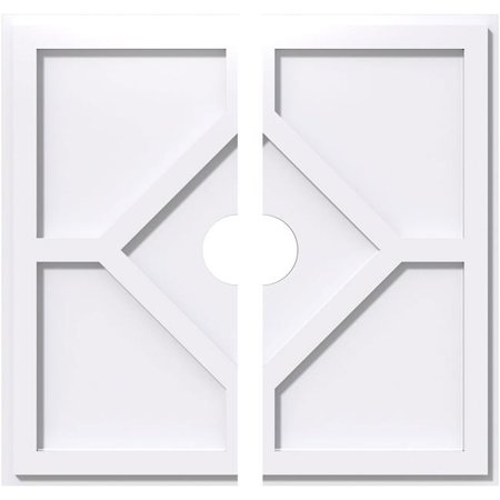 Ekena Millwork CMP40EY2-06000 40 in. OD x 6 in. ID Square Embry Architectural Grade PVC Contemporary Ceiling Medallion - 2 Piece - image 1 de 1