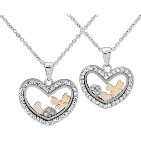Connections from hallmark stainless steel motherdaughter heart connections from hallmark stainless steel motherdaughter heart shaker breakaway pendants set 18 aloadofball Gallery