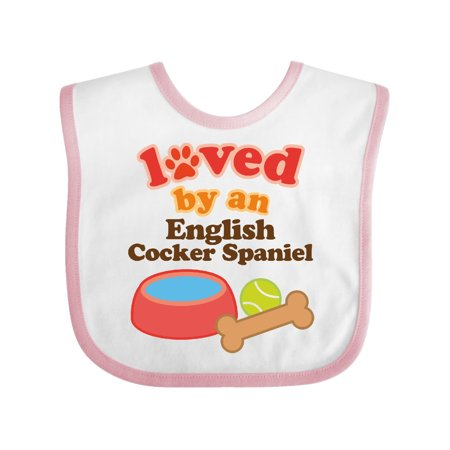 English Cocker Spaniel Loved By A (Dog Breed) Baby Bib White/Pink One