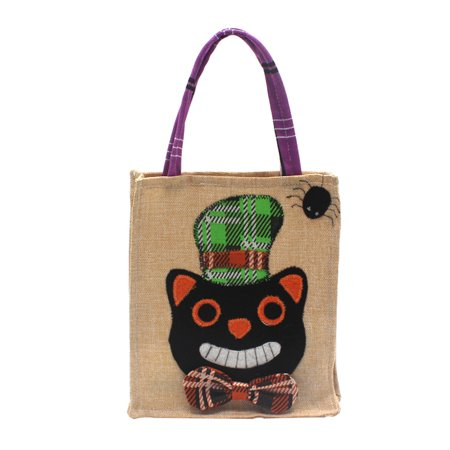 Halloween Linen Candy Bag Trick or Treat Kids' Candy Bucket Handbag with Handle Halloween Party Costumes Supplies Decoration--Black Cat](Vegan Halloween Treats For Kids)