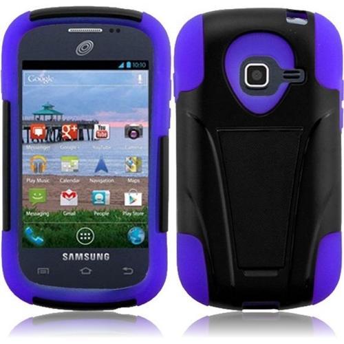 Insten For Samsung Galaxy Centura S738C S730G Discover Hybrid Hard Case w/ Stand - Black +Purple