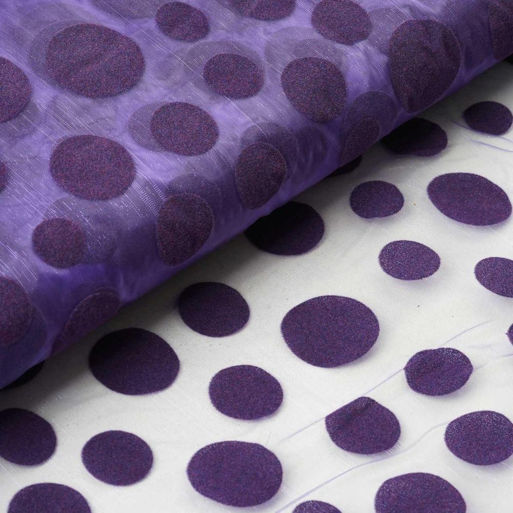 "54""x10 Yards Velvet Dots Sheer Organza Fabric Bolt Drape Panel Stage - Purple"