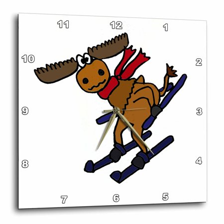 3dRose Funny Moose Skiing Downhill Wearing Red Scarf, Wall Clock, 15 by 15-inch