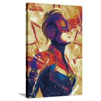 Captain Marvel - Painterly Stretched Canvas Print Wall Art