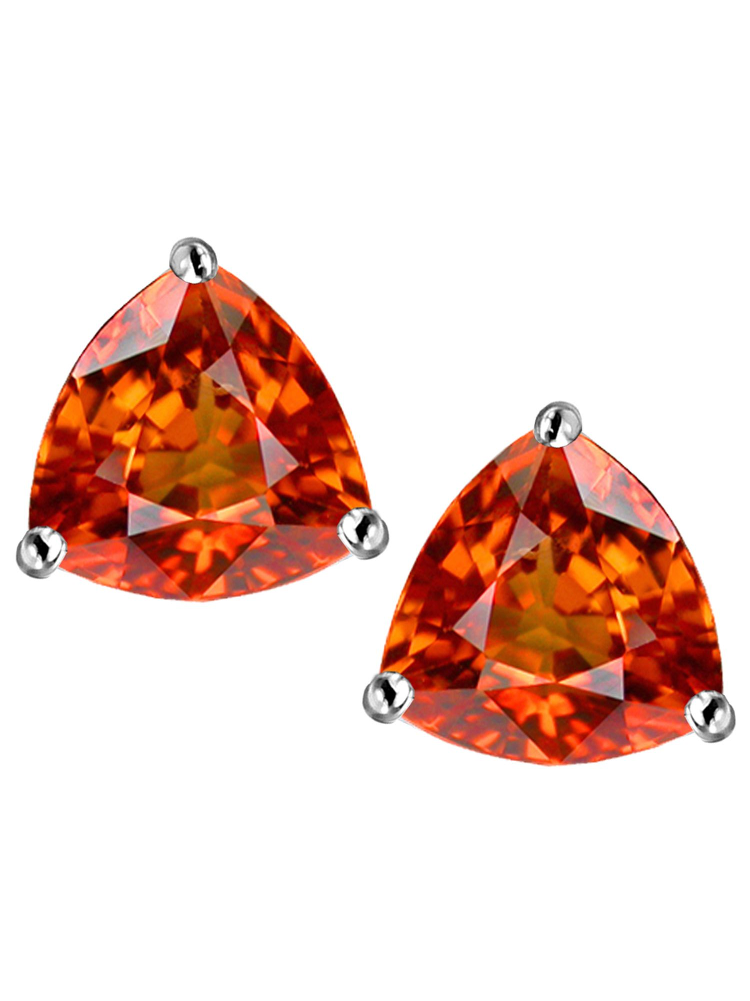 Star K Trillion 7mm Simulated Orange Mexican Fire Opal Earrings Studs In Sterling Silver