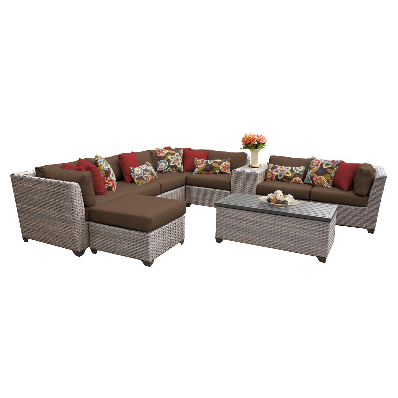 TK Classics Florence Wicker 10 Piece Patio Conversation Set with Ottoman and 2 Sets of Cushion Covers