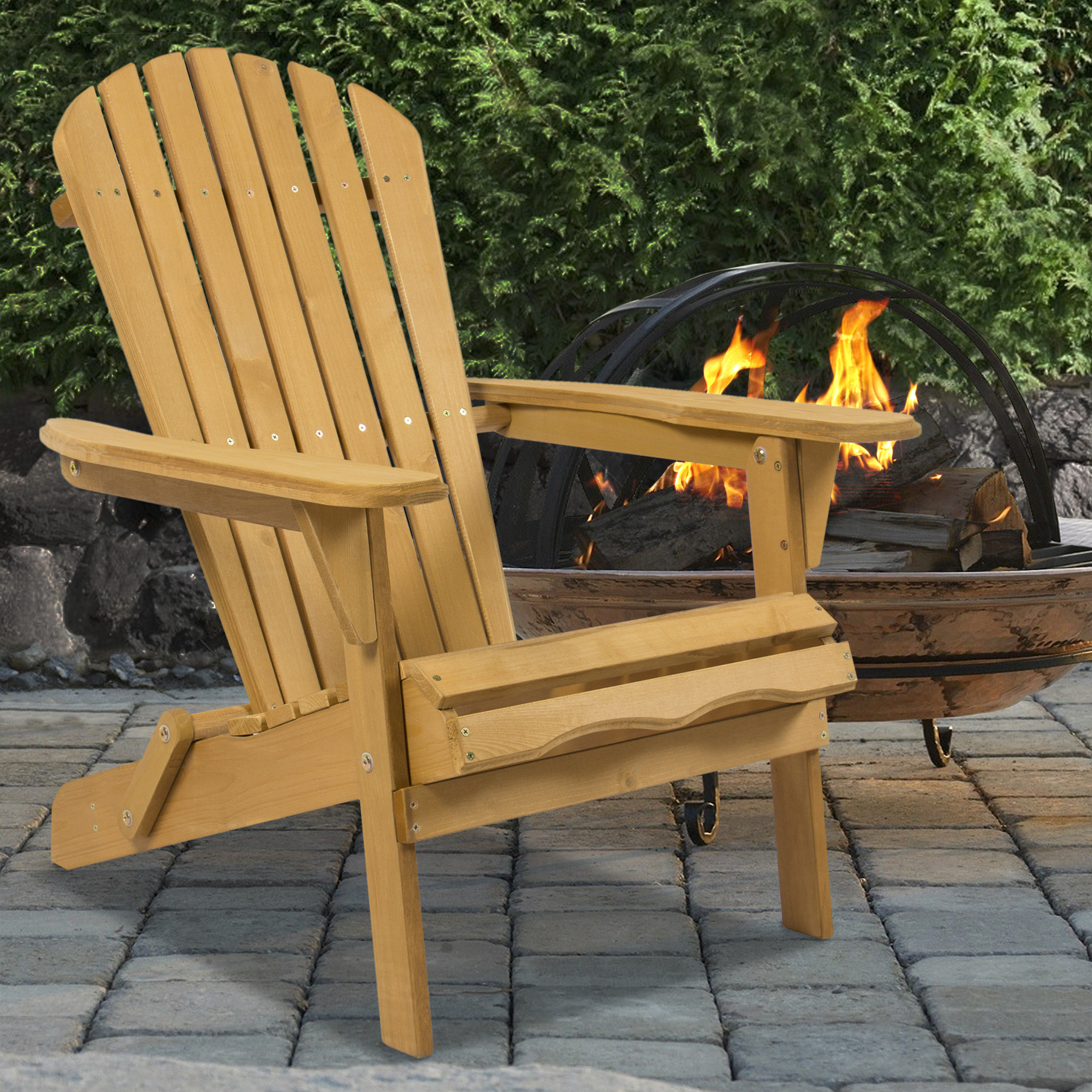 Best Choice Products Outdoor Adirondack Wood Chair Foldable Patio