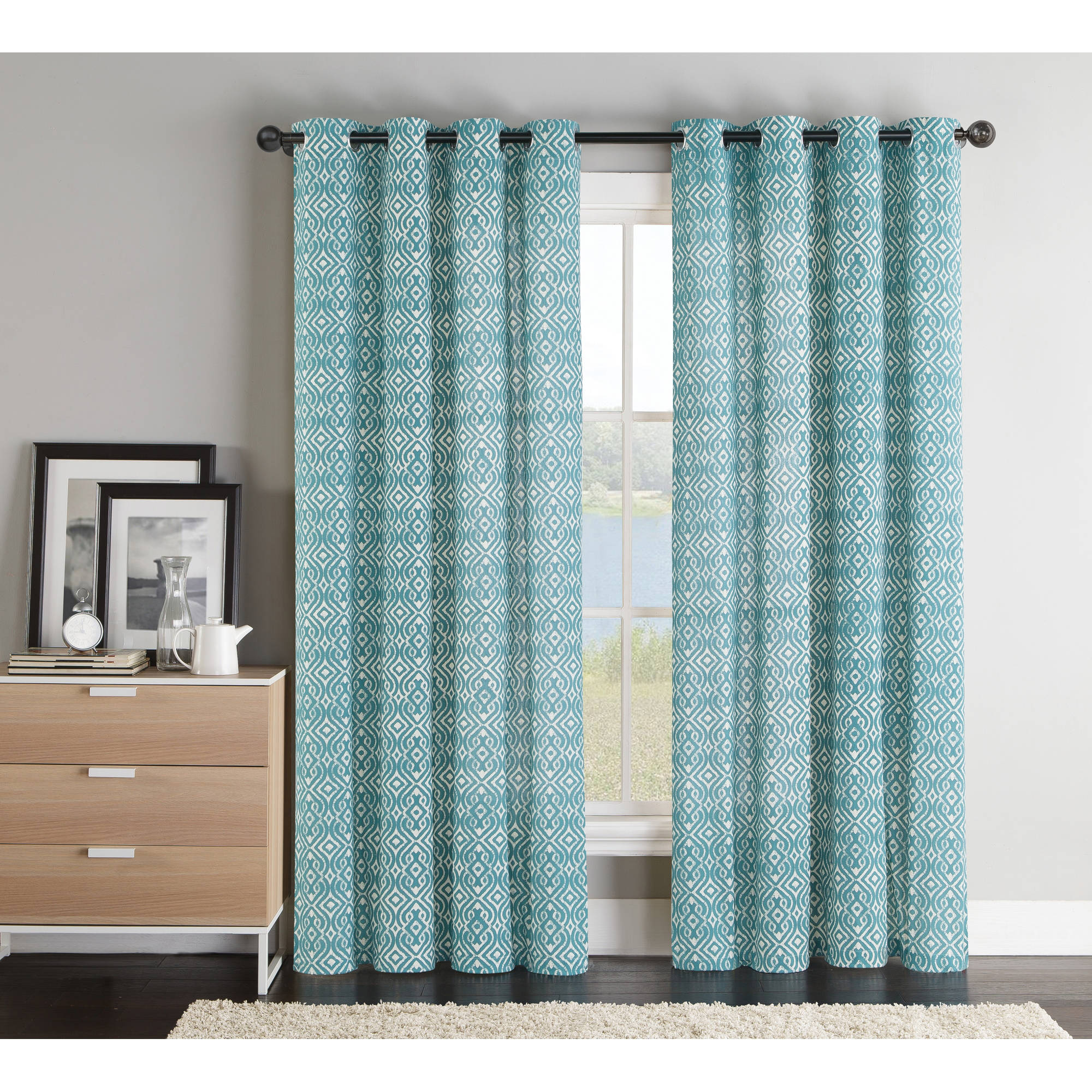 "***DISCONTINUED*** VCNY Home Brayden 84"" Length Printed Grommet Top Window Curtains"