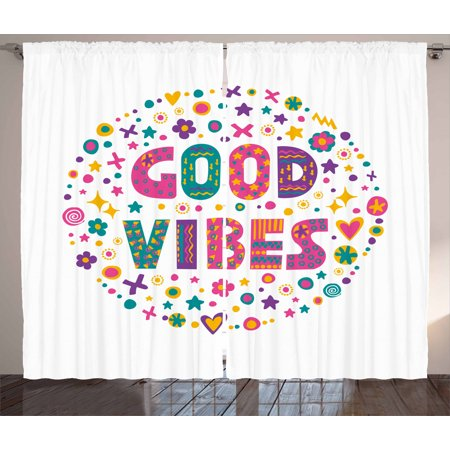 Good Vibes Curtains 2 Panels Set, Word Art Theme Cute Doodle Cartoon Figures Positive Hippie Inspiring Cheerful, Window Drapes for Living Room Bedroom, 108W X 84L Inches, Multicolor, by Ambesonne ()