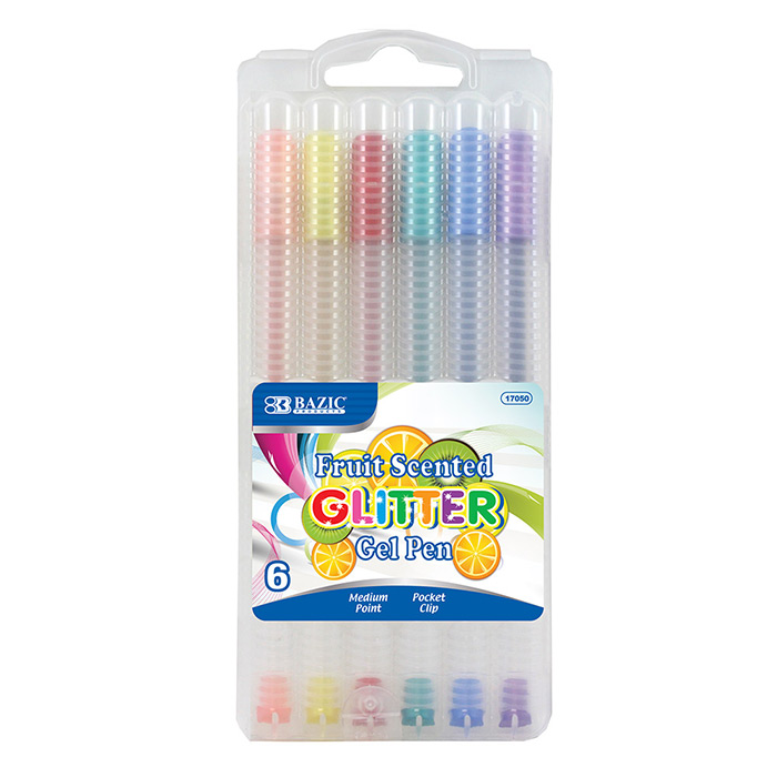 BAZIC Fruit Scented Glitter Color Gel Pen with Case 144 Packs of 6