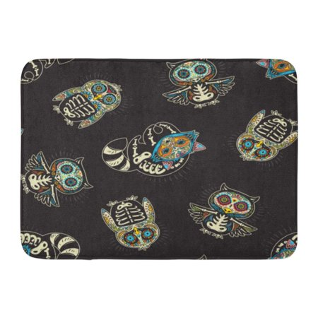 GODPOK Cartoon Dead Colorful Sugar Skull of Owl Penguin and Raccoon Mexican with on Black Bow Day Rug Doormat Bath Mat 23.6x15.7 - Sugar Skull Bow