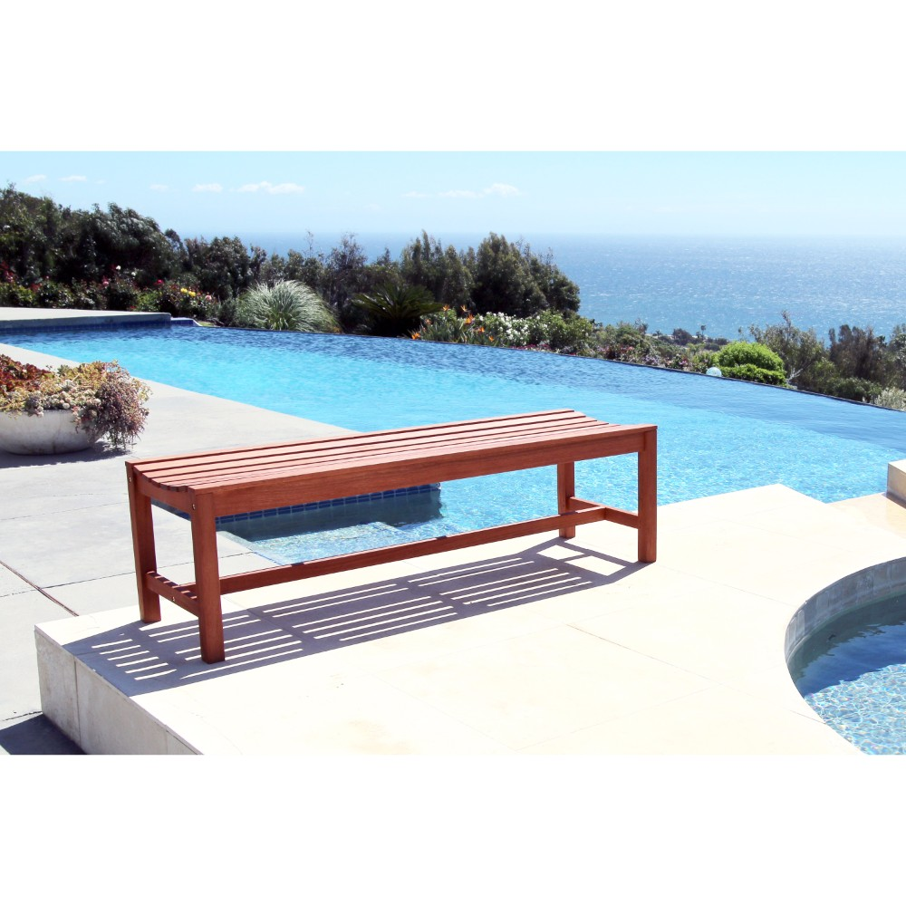 5-foot Eucalyptus Wood Backless Bench by DVG
