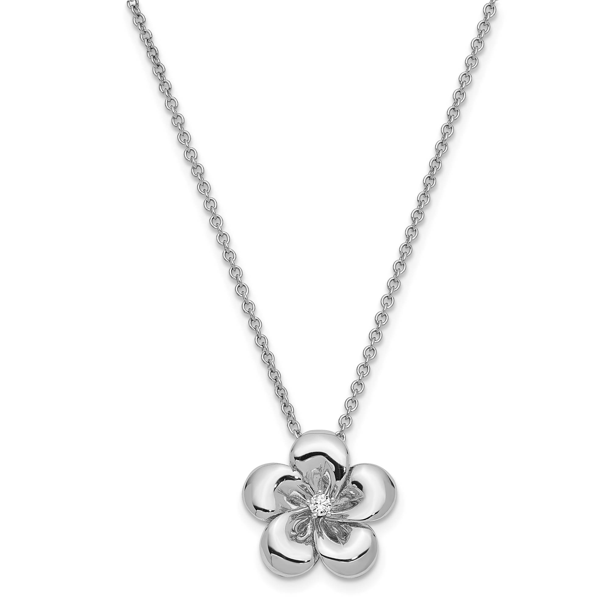 """Sentimental Expressions Kids SS CZ 'Be A Blessing' Flower Necklace 14"""" + 2"""" Ext"""