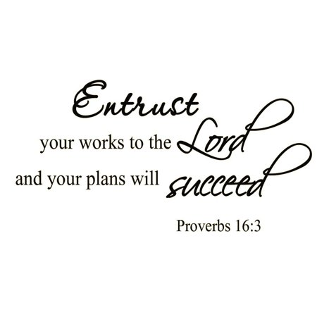VWAQ Entrust Your Works to the Lord and Your Plans Will Succeed Bible Wall Decal Wall Art Quote Proverbs 16:3 Bible Scripture Christian Vinyl Wall Art Quote - Christian Halloween Quotes