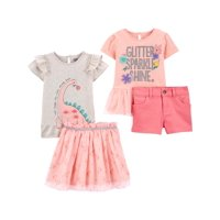 Child of Mine by Carter's Baby Girls & Toddler Girls (12M-5T) Short Sleeve Tops, Skirt, & Shorts, 4 pc Outfit Set