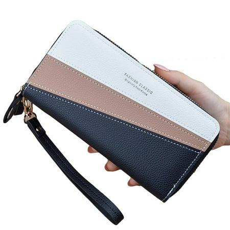 Farfi Women Color Block Double Zipper Long Wallet Faux Leather Money Card Holder Purse Money Long Wallet