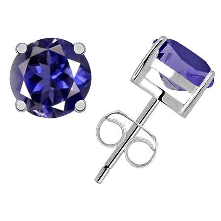 0.85 Ctw Natural Round Blue Iolite Stud Earrings, Blue Gmestone Butterfly Back Prong Set, 925 Starling Silver Earrings Bast Gift For Women, Girls (Backs For Earrings)