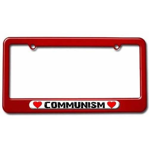 Communism Love with Hearts License Plate Tag Frame, Red Color