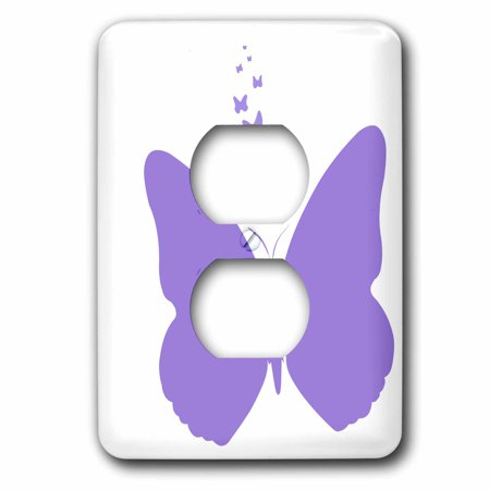 3dRose Purple Butterflies - Nature Whimsy - Art - 2 Plug Outlet Cover (lsp_49863_6)
