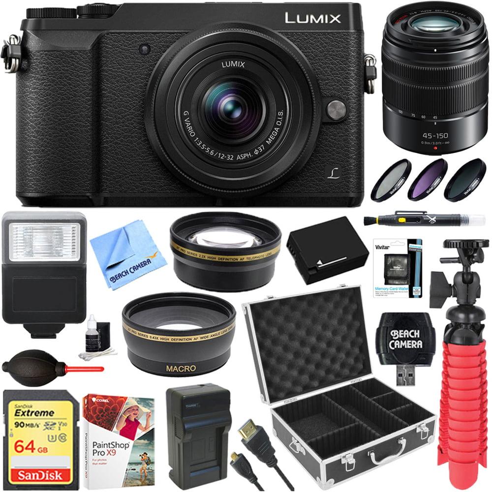 Panasonic LUMIX GX85 4K Mirrorless Interchangeable Lens Black Camera + 12-32mm & 45-150mm Dual Lens Accessory Bundle