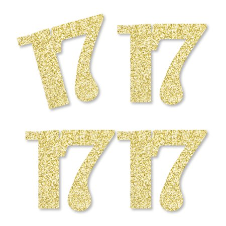 Gold Glitter 17 - No-Mess Real Gold Glitter Cut-Out Numbers - 17th Birthday Party Confetti - Set of 25