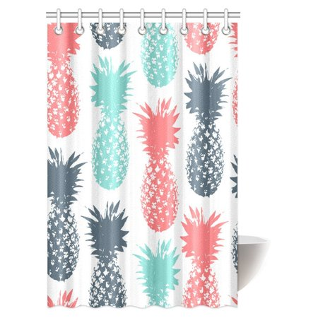 MYPOP Fruit Pineapple Decor Shower Curtain, Pineapple Tropical Fruit Pattern Stamped Minimal Backdrop Pop Art Print Bathroom Shower Curtain 48 By 72 Inches