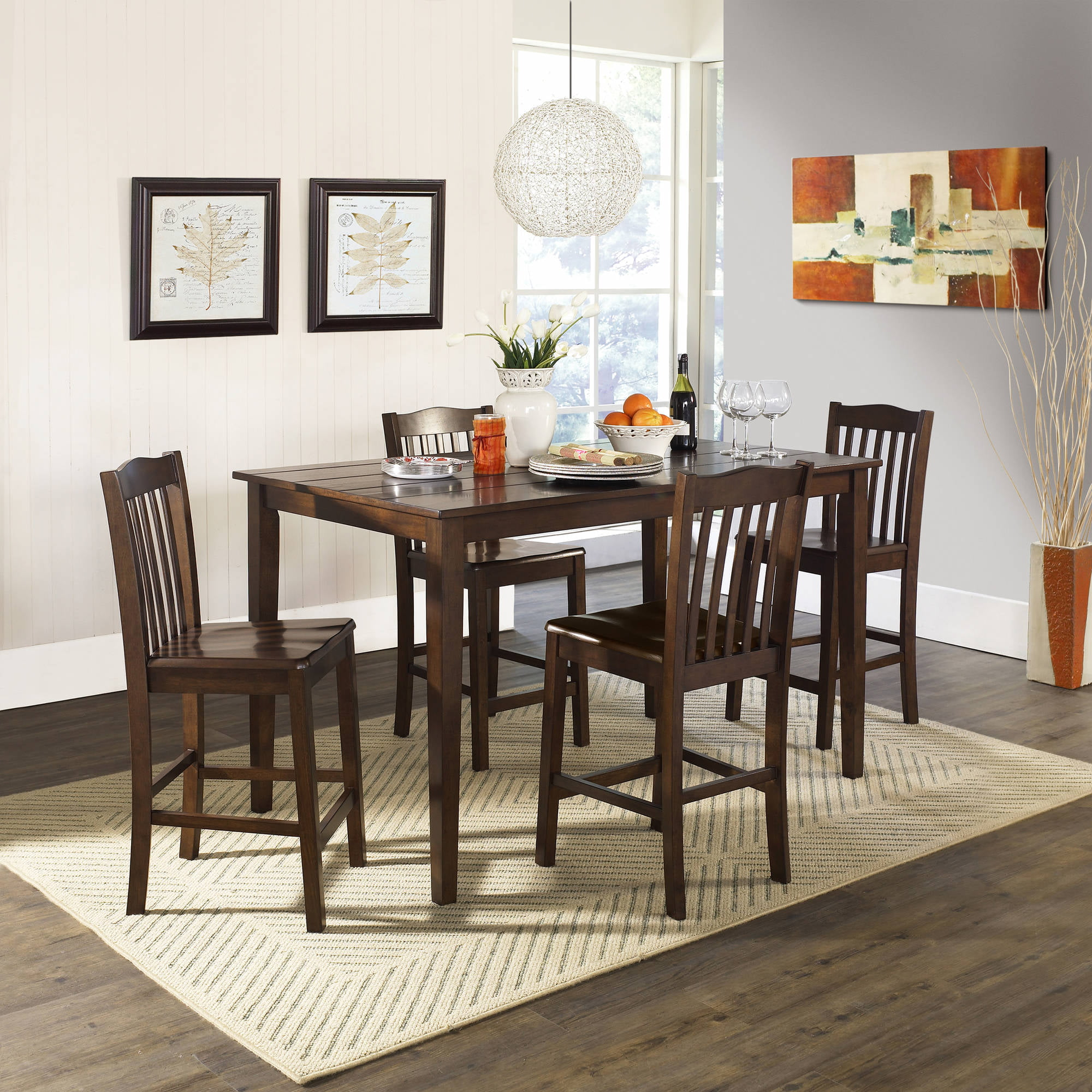 better homes and gardens 5piece counter height dining set dark rustic mahogany walmartcom - Rustic Dining Set