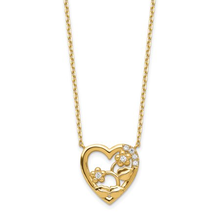 14K Yellow Gold Heart with Flowers & Cubic Zirconia with 2In Extender Necklace