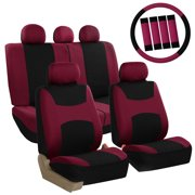 FH Group Light & Breezy Burgundy and Black Auto Accessories Set, with Steering Wheel Cover and Seat Belt Pads, Airbag Compatible and Split Bench Full Set Seat Covers