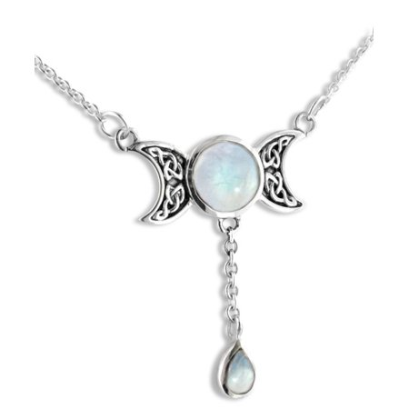 Sterling Silver Celtic Knot Triple Moon Phases Genuine Rainbow Moonstone 17