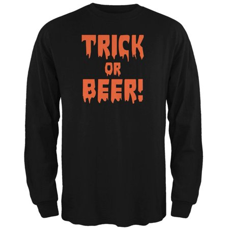 Halloween Trick or Beer Black Adult Long Sleeve T-Shirt](Halloween Beer Pong Ideas)