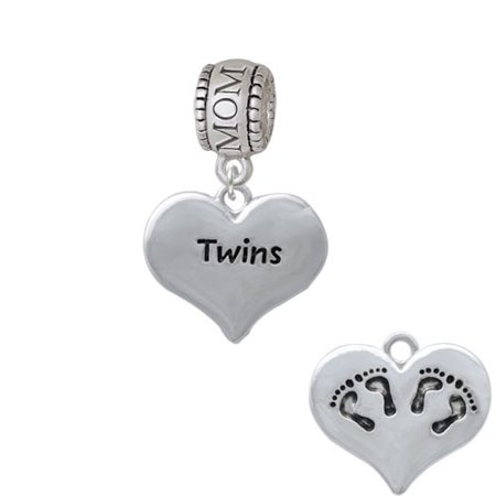 Feet Sterling Silver Charms (Twins Heart with Two Pair of Baby Feet - Mom Charm)