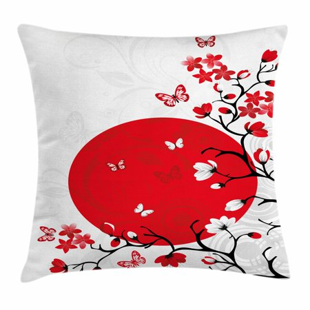Japanese Throw Pillow Cushion Cover  Japanese Culture Inspired Artwork Cherry Blossom Sakura Tree Eastern  Decorative Square Accent Pillow Case  24 X 24 Inches  Vermilion Black White  By Ambesonne
