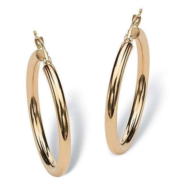 PalmBeach Jewelry 54756 Polished Hoop Earrings in 10k Gold